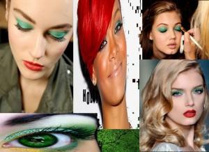 макияж с  зелеными тенями, зеленые тени