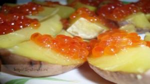 закуски с красной икрой-картофель с красной икрой