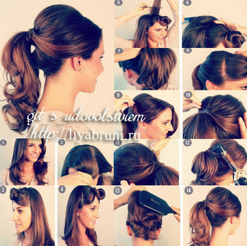 Как сделать объёмную причёску на средние волосы 691