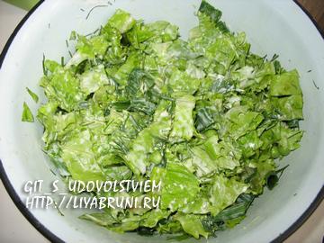 зеленый салат с горошком