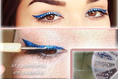макияж со стразами на глазах