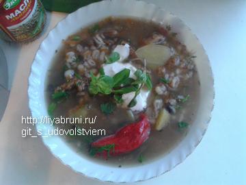 перловый суп с сушеными грибами